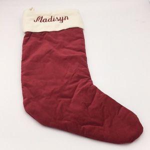 """Pottery Barn Velvet Christmas Stocking """"Madisyn"""""""